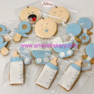Galletas Bebe Baby Shower fondant www.ameliabakery.com