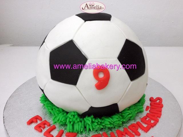Tarta Fondant Balón Pelota Futbol Amelia Bakery