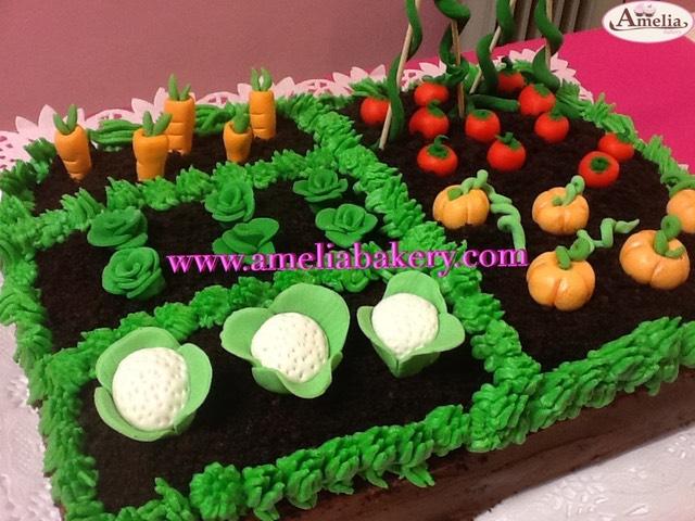 Pastel Tarta Decorado Con Fondant Huerta Vegetales Verduras