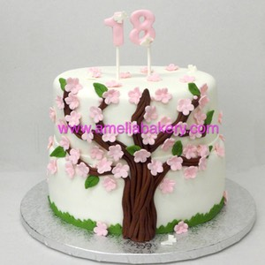 Tarta arbol de cerezo cherry blossom tree ameliabakery.com