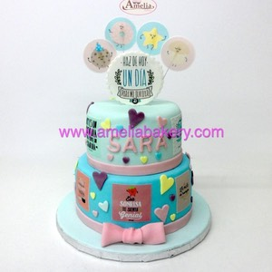Tarta Mr. Wonderfull 2 pisos fondant | Amelia Bakery