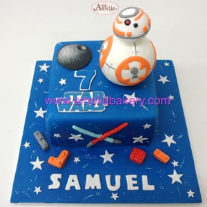 Tarta Star Wars BB8 fondant www.ameliabakery.com